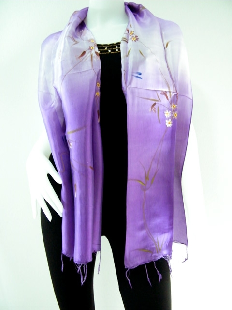 Purple Hand Paint Silk scarf
