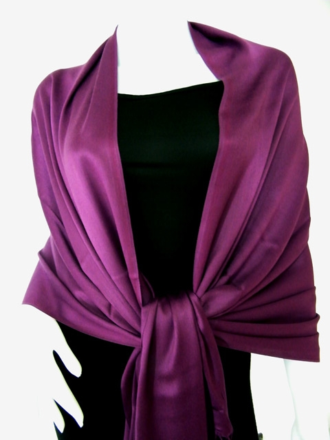 Grape Purple Solid Pashmina Shawl
