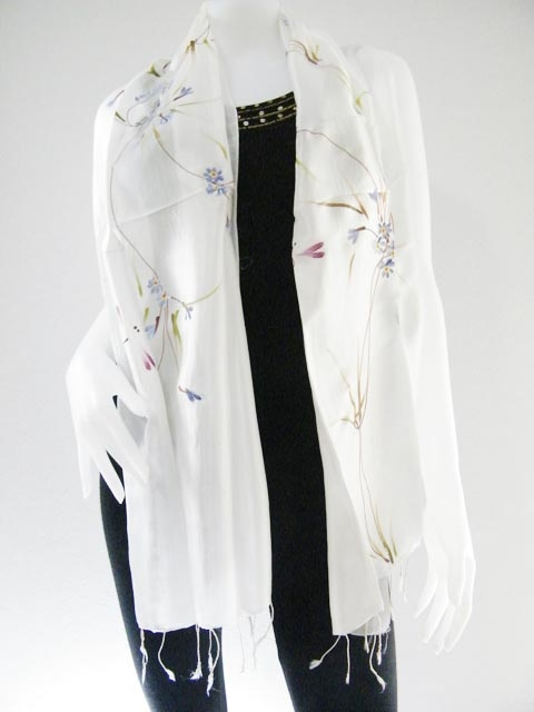 White Hand Paint Pure Silk scarf