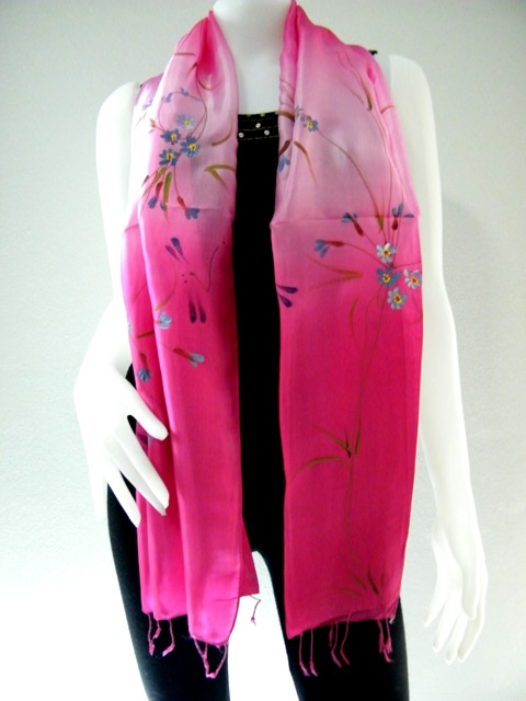 Hot Pink Hand Paint Pure Silk scarf