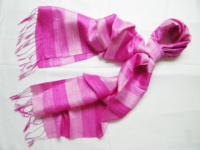 Stripy pure silk Scarf with pink