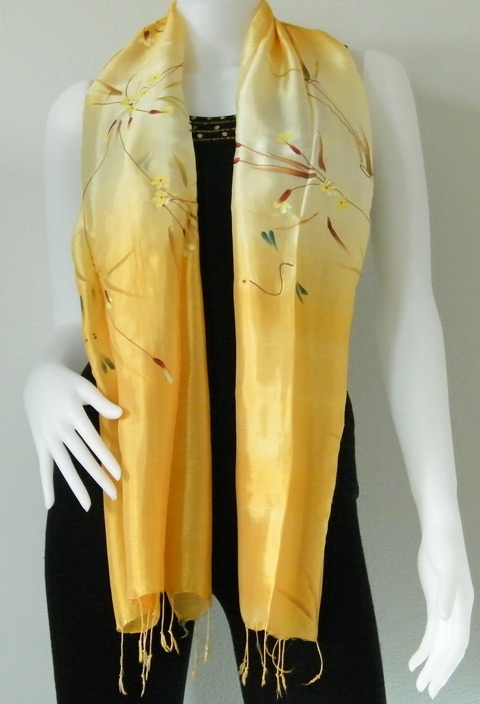 Gold Hand Paint Pure Silk scarf