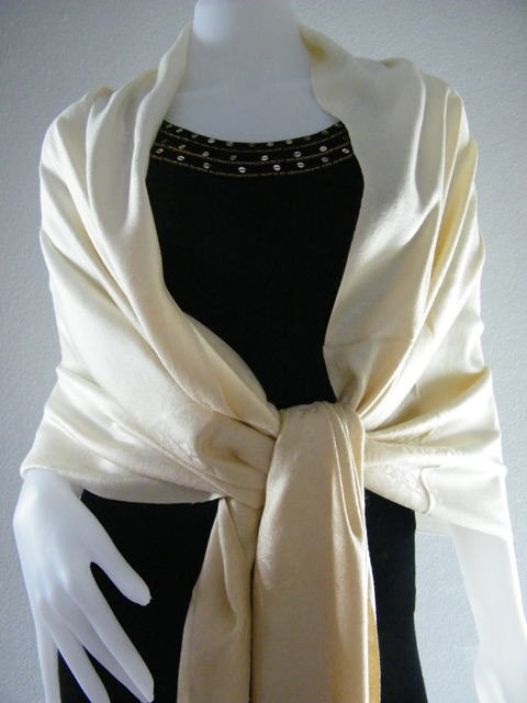 Light Gold Two Tone Pashmina Shawl