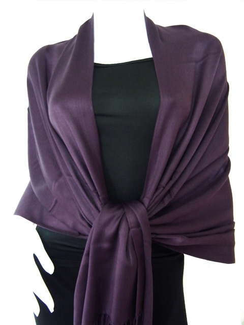 Deep Purple Solid Pashmina Shawl