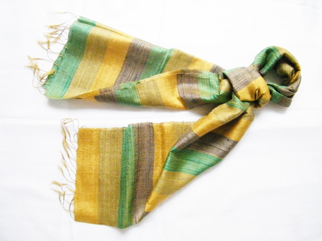 Stripy pure silk Scarf with Gold and Green