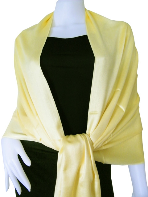 Pale yellow Solid Pashmina Shawl