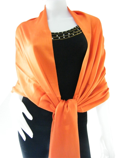 Orange Solid Pashmina Shawl