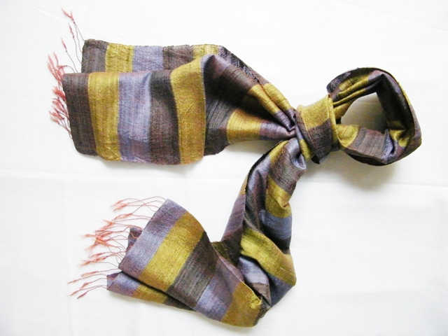 Stripy pure silk Scarf with Gold and Gray