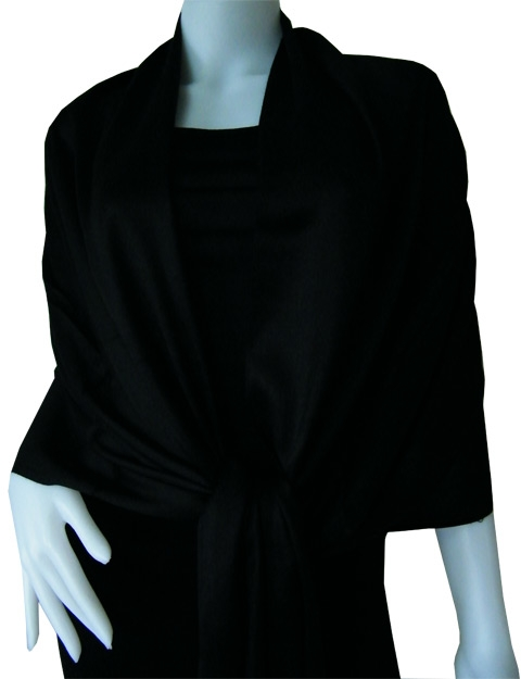 Black Solid Pashmina Shawl