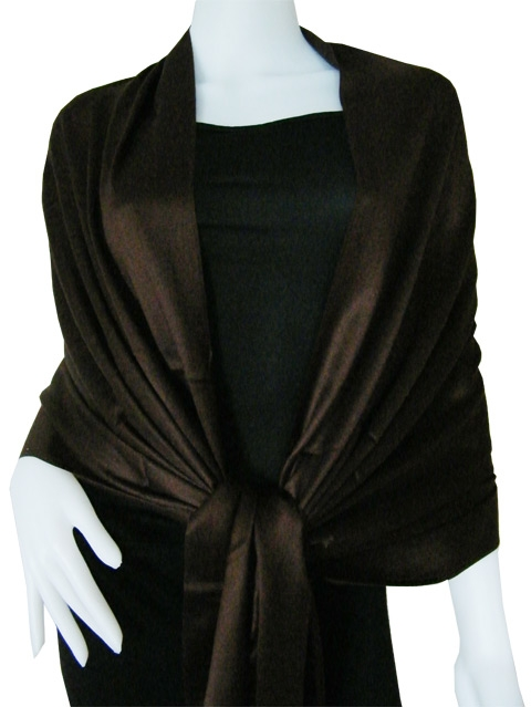 Metallic brown Solid Pashmina Shawl