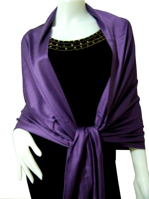 Purple Solid Pashmina Shawl