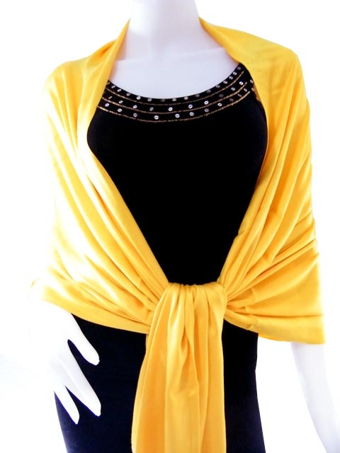 Rich Yellow Solid Pashmina Shawl