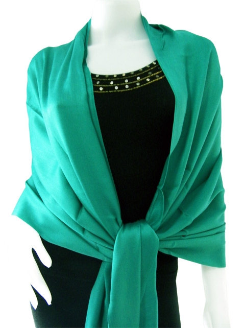 Kelly green Solid Pashmina Shawl