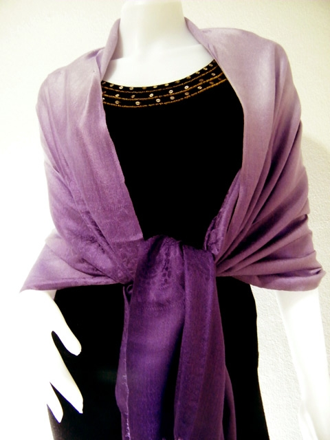 Pashmina Two Tone Shawls  Dark Purple Two Tone Pashmina Shawl Dark Purple Pashmina Scarves