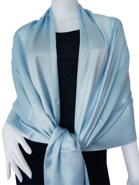 Butterfly blue Solid Pashmina Shawl