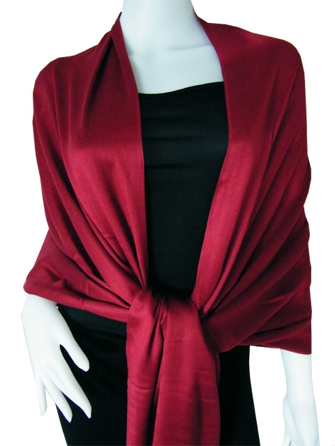 Red wine Solid  Pashmina Shawl