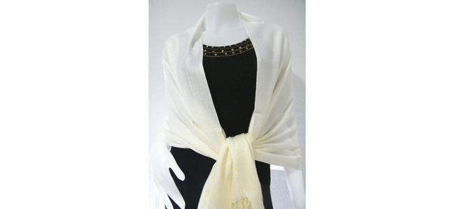 Cream White Two Tone  Pashmina Shawl