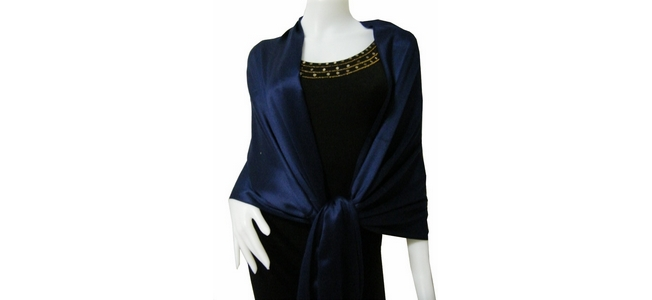 Navy blue solid Pashmina Shawl