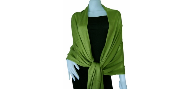 Leaf Green Solid Pashmina Shawl