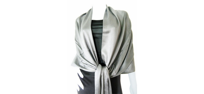 Silver Solid Pashmina Shawl