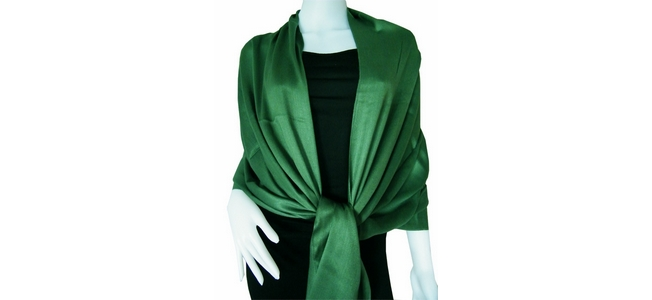 Dark green Solid Pashmina Shawl