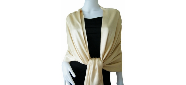 Light Gold Solid Pashmina Shawl