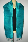 Stripy pure silk Scarf with Seagreen