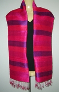 Stripy pure silk Scarf with Hot pink and dark purple