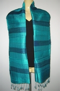 Stripy pure silk Scarf with Turquoise and Green