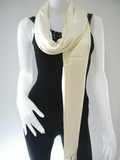Cream Solid Pashmina Shawl
